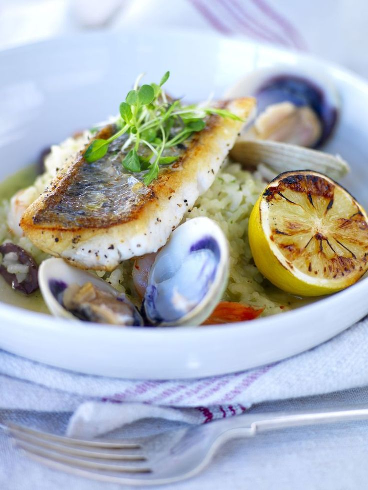 Pan seared Gurnard with Seafood and Tuscan Olive Risotto recipe from Auckland Seafood School