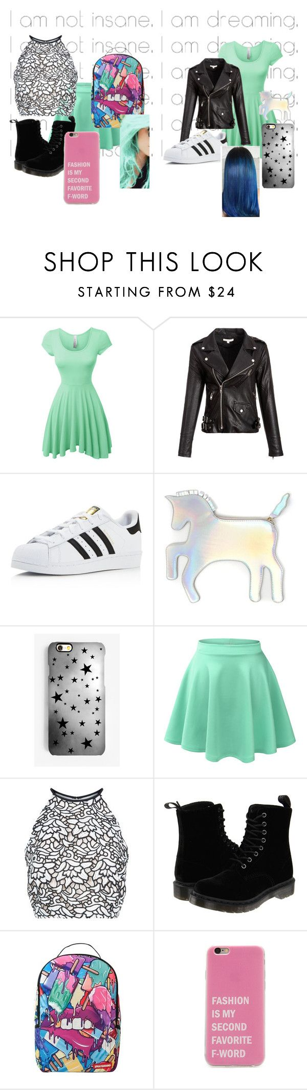 """""""I am not insane, I am dreaming"""" by djgirl1116 ❤ liked on Polyvore featuring LE3NO, adidas, WithChic, Rianna Phillips, Keepsake the Label, Dr. Martens and Sprayground"""