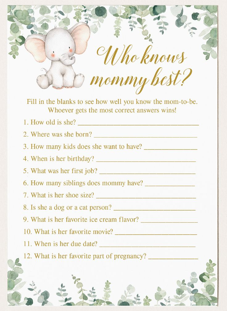 Virtual Baby Shower Games, Who Knows Mommy Best, Who Knows