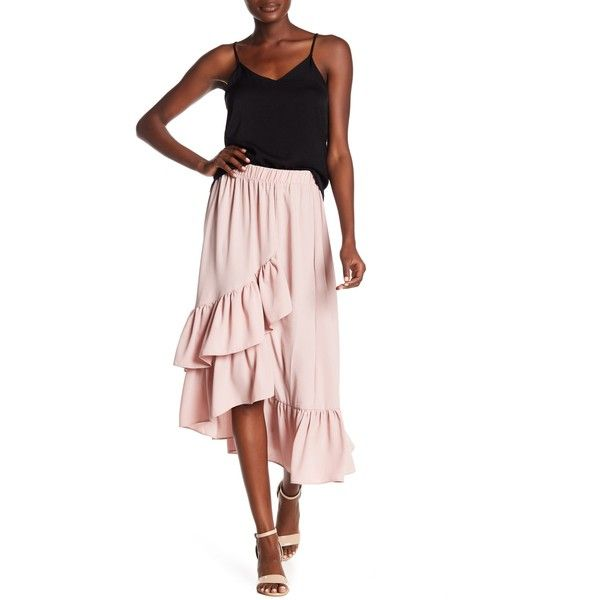 Know One Cares Ruffled Maxi Skirt ($27) ❤ liked on Polyvore featuring skirts, white long skirt, elastic waist skirt, white skirt, white ruffle maxi skirt and draped maxi skirt