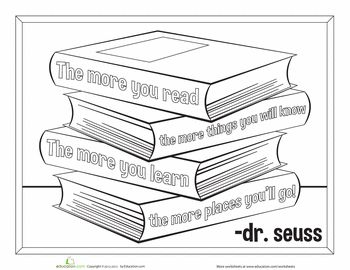 the more you read the more you know dr suess coloring page