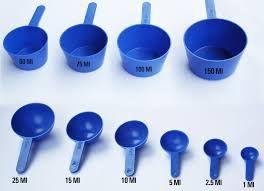 Son cucharas usadas para medir cantidades en volumen de ingredientes líquidos o en polvo. Su principal función es uniformar pequeñas cantidades, Son elaboradas de cualquier material rígido que responda a necesidades especificas, como lo son el plástico o el metal.