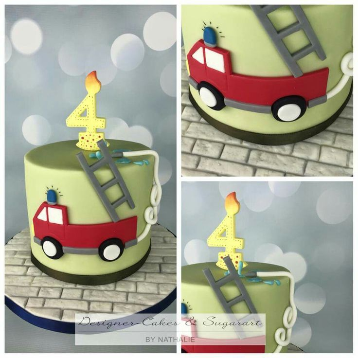 Fire engine fire truck cake