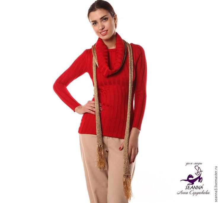 """Купить Уютный кашемировый джемпер """" - ярко-красный, свитер красный купить"""