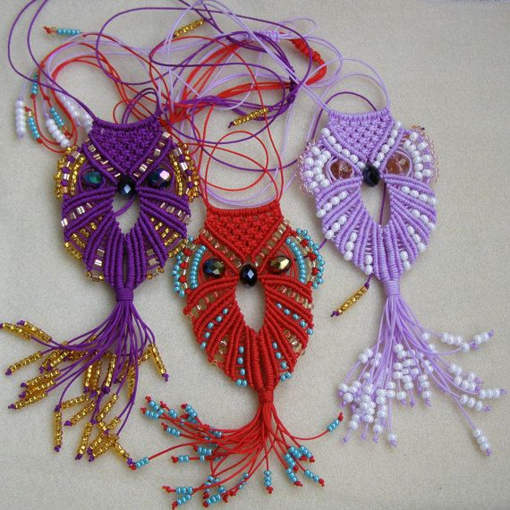 Macrame Owl necklace Gift for women Gift for от MatthiolaBeads
