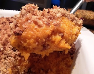 Out-of-this-World Yummy!  Southern Style Sweet potato with praline casserole. Save it to Pin it!  #sweetpotato #thanksgiving #foodiefiles