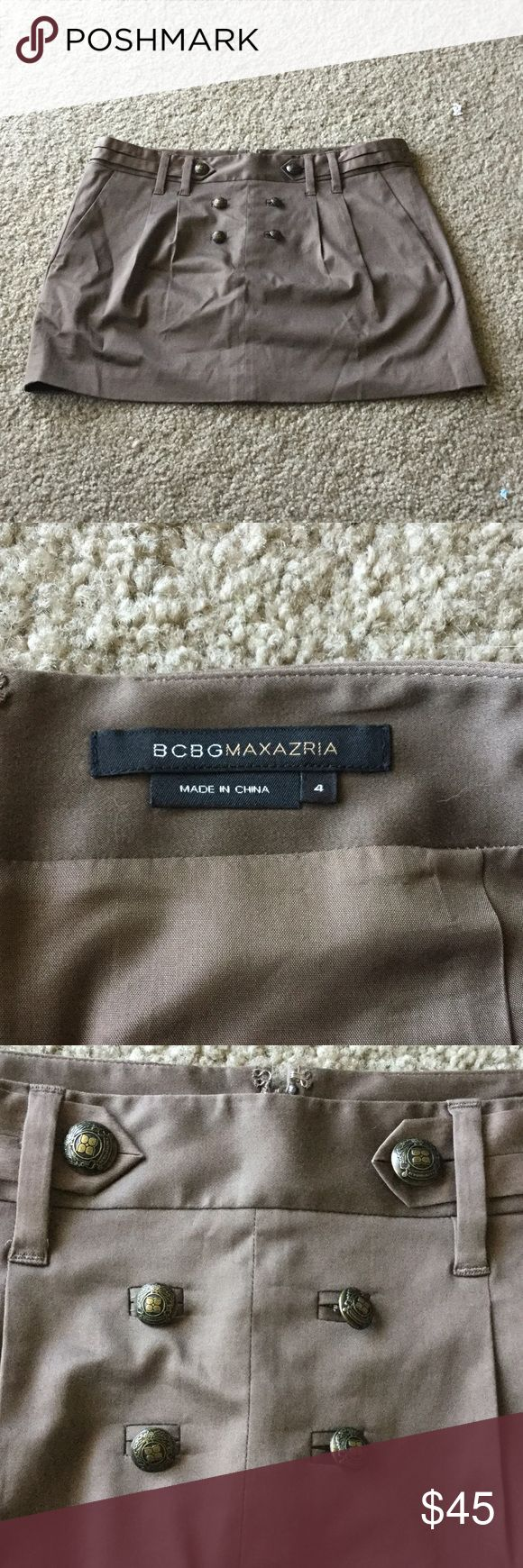 BCBGMAXAZRIA brown pencil mini skirt Cute skirt with button decoration on the front and real pockets on the back. Zipper closure and adjustable 'belt'. Some minor pulled threads, slight wrinkles but no their damage. Double layered, dry clean only. Color best shown in second and last photo BCBGMaxAzria Skirts