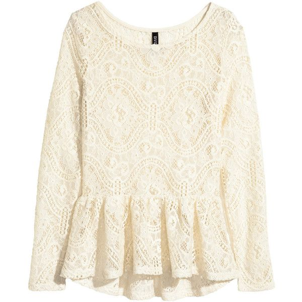 H&M Peplum top in lace (31 CAD) ❤ liked on Polyvore featuring tops, natural white, h&m, lace peplum top, h&m tops, white long sleeve top and lace top