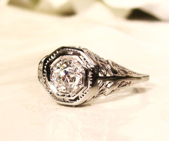 Antique Engagement Ring 0.60ct Old by LadyRoseVintageJewel on Etsy