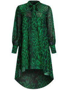 Нарядное платье - Зеленое платье с леопардовым принтом Oodji
