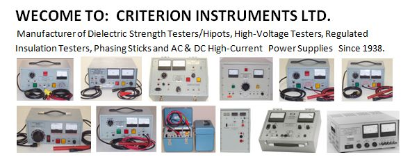 Criterion Instruments is known as Electric Manufacturing industry. We have number of products like Dielectric Strength Testers, High Voltage Testers, Insulation Testers, Phasing Sticks, AC & DC Power Supplies etc.