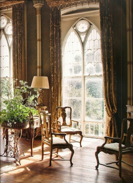 These windows show the gothic splendor of Birr Castle in Ireland.  I would love, love these windows in my house!