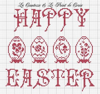 Happy Easter pattern. Could be used for cross stitch or filet crochet.