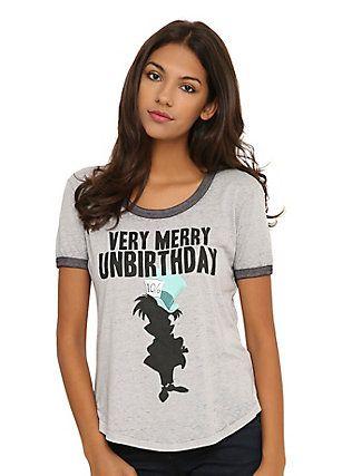 Disney Alice In Wonderland Very Merry Unbirthday Burnout Girls Ringer T-Shirt, , hi-res