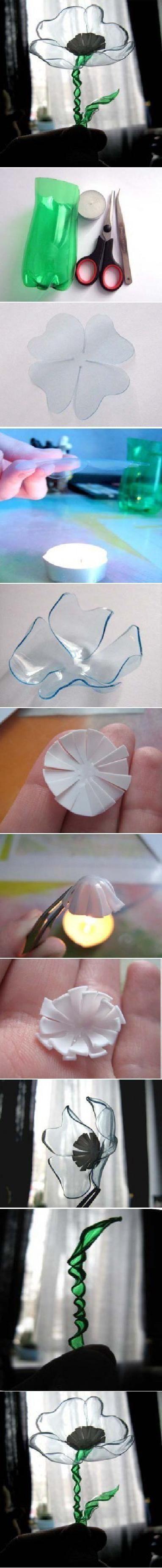 DIY Flower iz plastične steklenice by mavrica