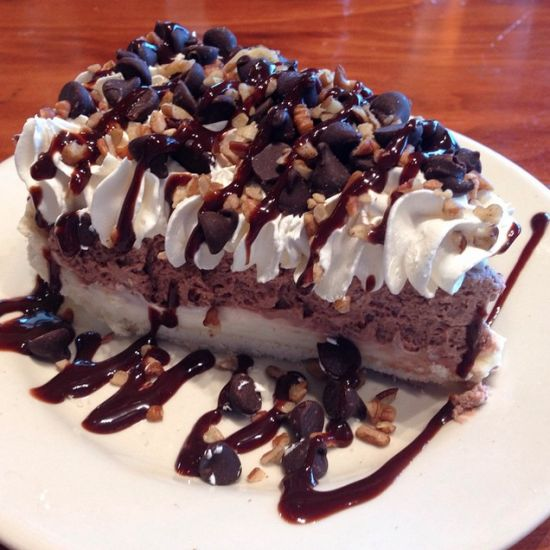 The United States of Pie! Arkansas: Possum Pie.  Don't worry, there are no possums in this pie! It is made of chocolate pudding and cream cheese on a pecan crust topped with Cool Whip.