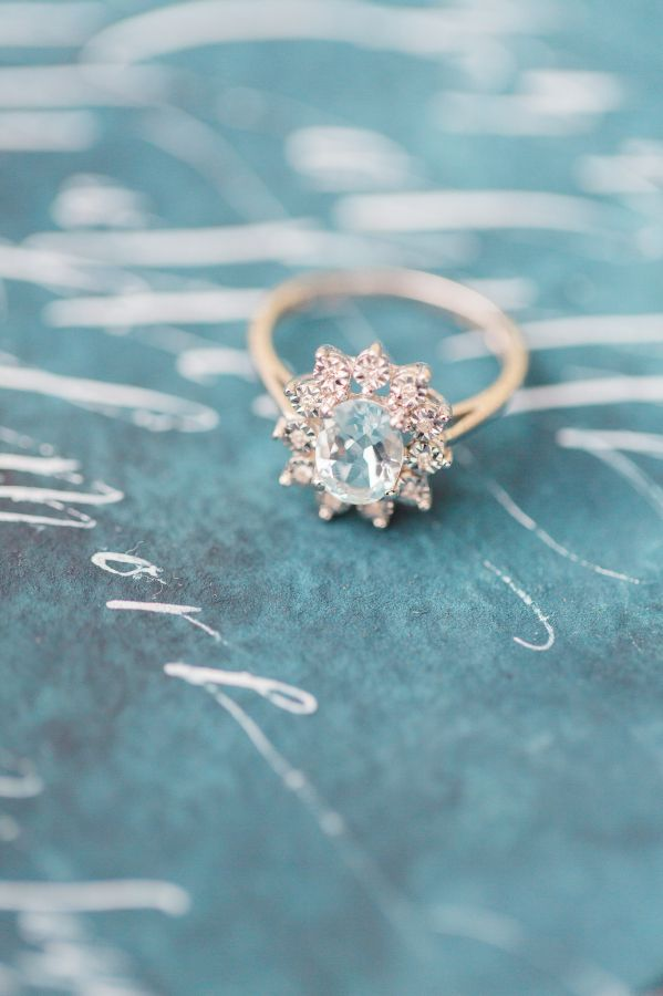Aquamarine floral shaped engagement ring:  http://www.stylemepretty.com/2016/03/29/a-seaside-elegance-styled-wedding-shoot/ | Photography: Photos By Sarah Beth - http://www.photosbysarahbeth.com/