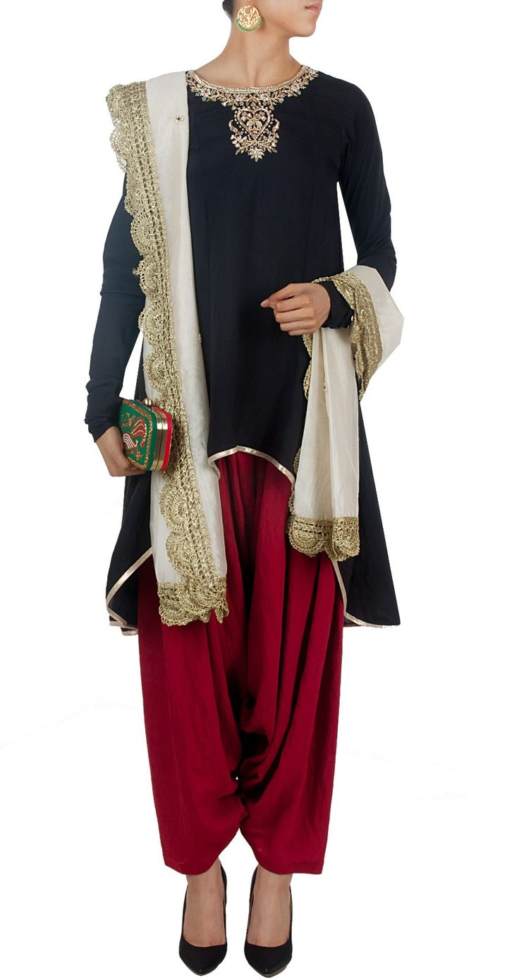 PAYAL SINGHAL Black and red embroidered kurta set