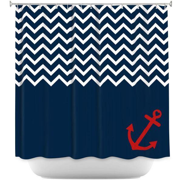 Decorative Shower Curtains | Organic Saturation - Anchor Nautical Chevron Red Blue
