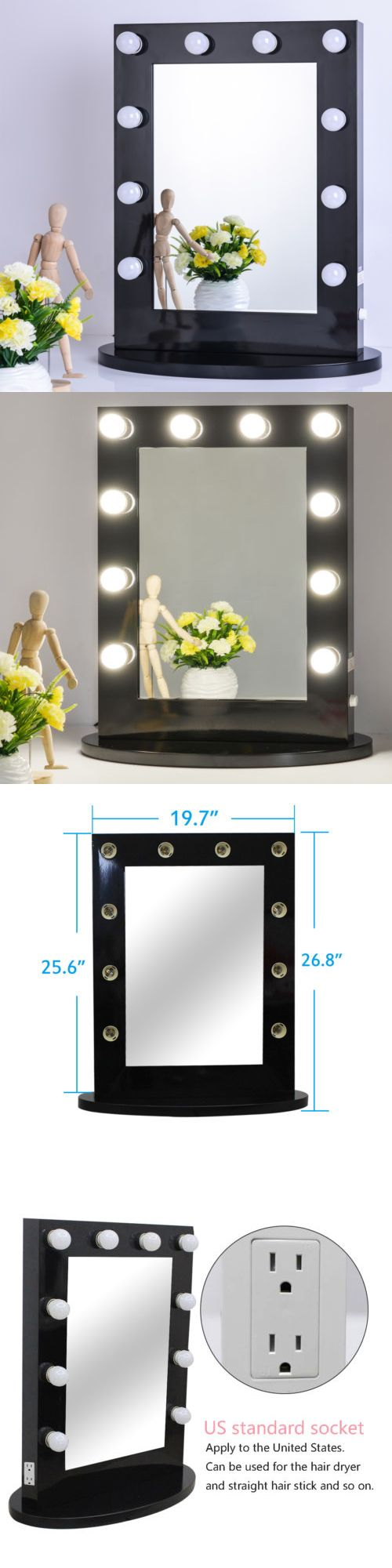 Makeup Mirrors: Black Vanity Lighted Hollywood Makeup Mirror With Dimmer Stage Beauty Mirror BUY IT NOW ONLY: $199.99
