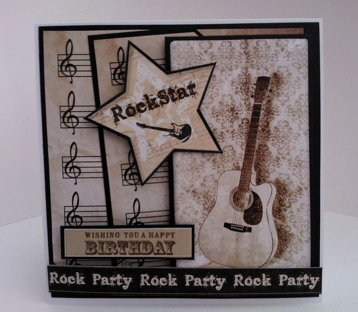 Handmade, Music, Birthday, Card, Male, Female, Guitar, Music Notes, Rock Star