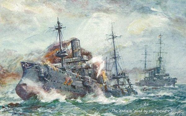 SMS Emden being killed by HMAS Cruiser Sydney near the Cocos Islands 9 Nov 1914