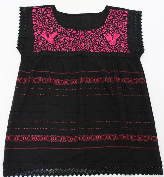 Summer Outfits - Black Blouse with Neon Pink Threads - All Handmade - available at azucarmaria.com