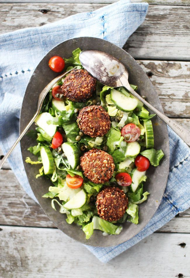 FALAFEL SALAD  DRESSING INGREDIENTS (makes a little more than 1/2 cup) 1/4 cup oil (canola, olive, safflower, or grapeseed) 2 tbsp lemon juice or 1 small lemon 1/4 cup yogurt (non-Greek) 1 tsp sugar 1 tbsp apple cider vinegar salt  romaine lettuce, chopped cherry tomatoes, halved cucumber, sliced onion, sliced capers, drained