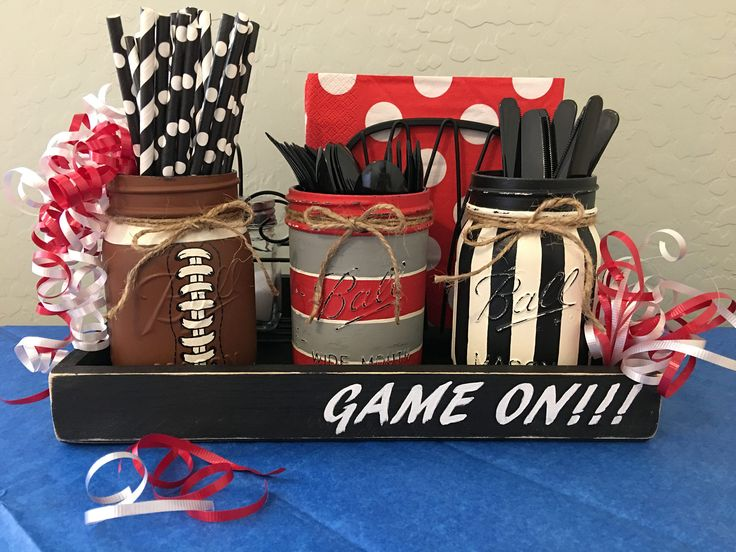 ball mason jar set of 3 choose team colors silverware caddy football game day party man cave gift optional wood tray