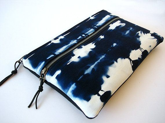 Large Zipper Clutch Indigo Bleached Denim Clutch by dishhandbags