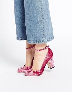 Amazingly cute pink crushed velvet shoes from ASOS