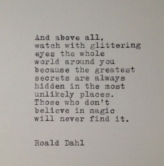 Roald Dahl Quote Typed on Typewriter by farmnflea on Etsy, $10.00
