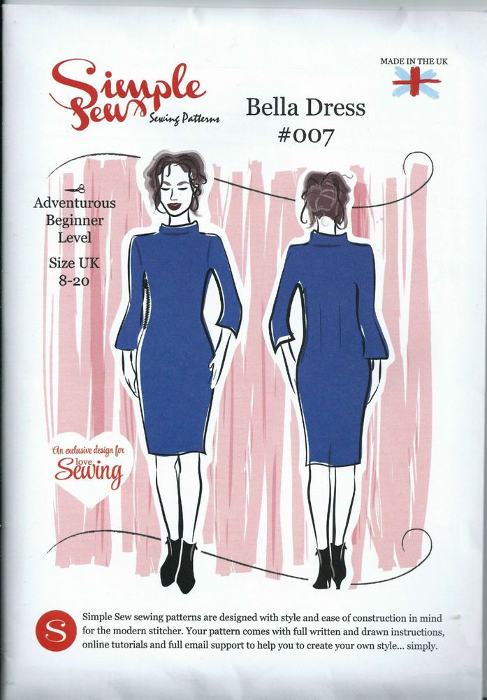 Simple Sew Sewing Pattern Bella Dress #007 Unused UK Size 8-20