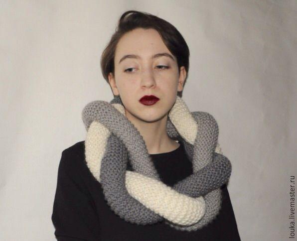 """Купить Плетеный шарф """"Коса"""" - серый, шарф, шарф женский, шарф вязаный, шерсть 100%"""