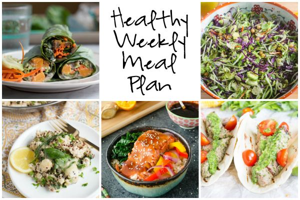 Healthy Weekly Meal Plan 2.4.17! Check out this week's meal plan featuring Roasted Butternut Squash Collard Wraps, Maple Orange Teriyaki Salmon Bowls, Cilantro Pesto Steak Tacos and more!