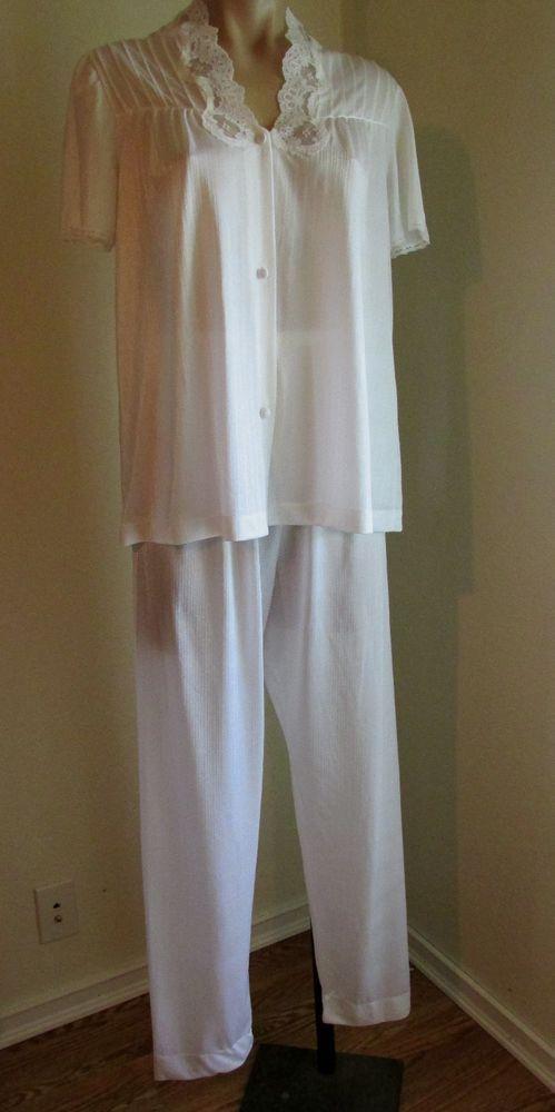 VINTAGE EARLY 70s GOSSARD WHITE NYLON PAJAMA SET SZ S #GOSSARD #PajamaSets
