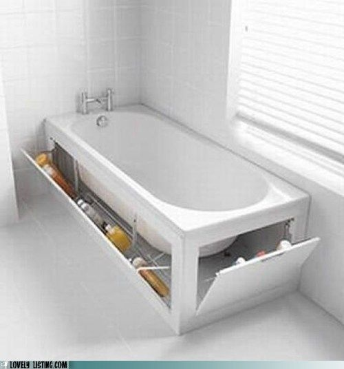 Stowaway Tub - what a great idea for storage in a small bathroom!  Also a great way to check for leaks