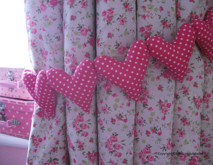 Shabby Chic Hot Pink Polka Dot Curtain Heart Tie Backs Nursery Bedroom
