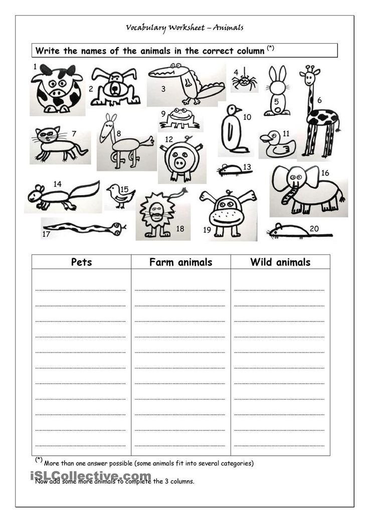 vocabulary worksheet animals school pinterest worksheets animal and english. Black Bedroom Furniture Sets. Home Design Ideas
