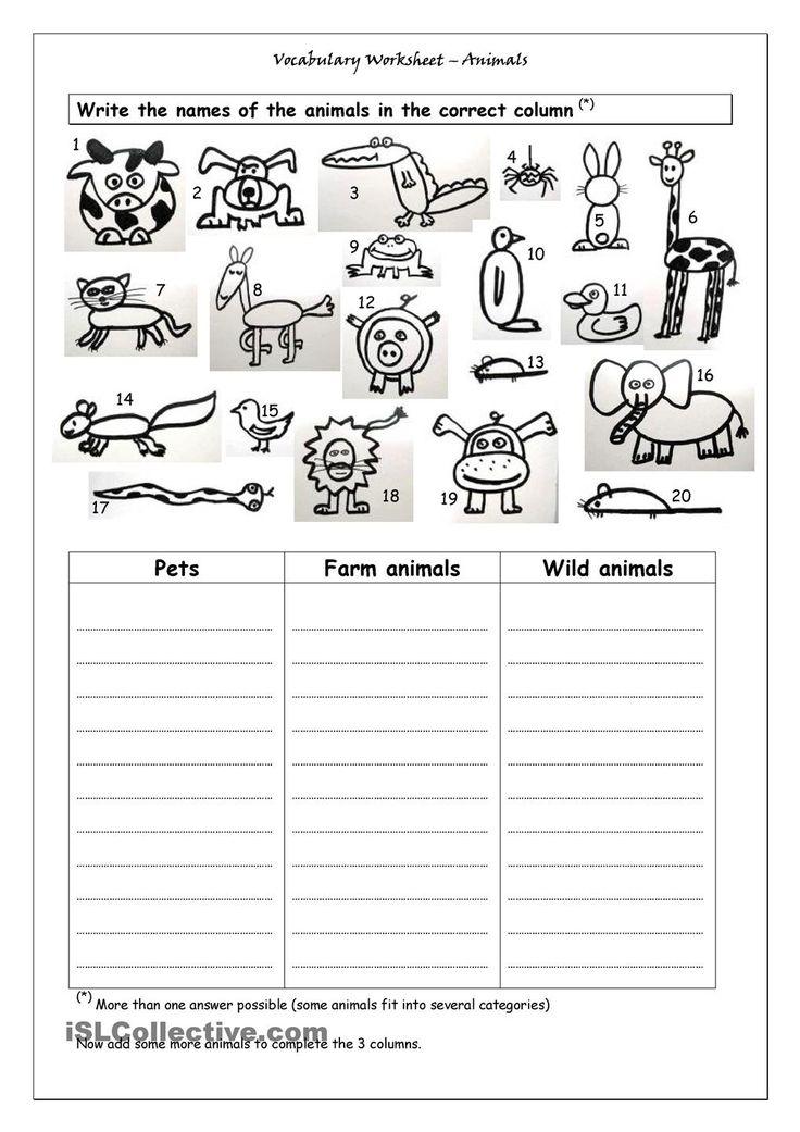 Vocabulary Worksheet Animals Aulas de inglês