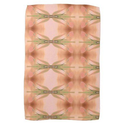 Pink Towel With Tulips - floral style flower flowers stylish diy personalize