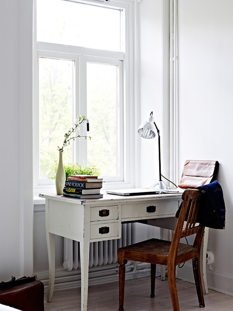 small working area by the window.