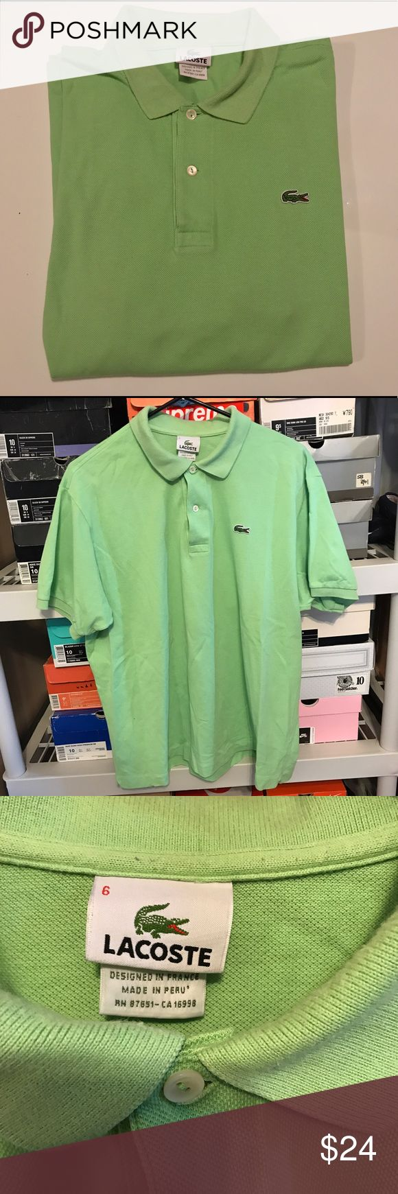 Mens lime green Lacoste Polo Size 6 Mens Lacoste lime green Polo Shirt   Size 6 (refer to measurements)   Good condition slight fading!   Pit To Pit: 61cm.   Neck To Bottom:70cm.   All measurements are taking with items laying flat!   If you have any questions please message me thanks!   Check out my other listings! Lacoste Shirts Polos