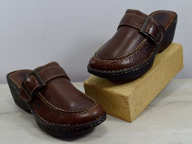 Born Brown Pebbled Leather Buckle Wedge Mules Women's Size 8 M #Brn #WedgeMules #Casual
