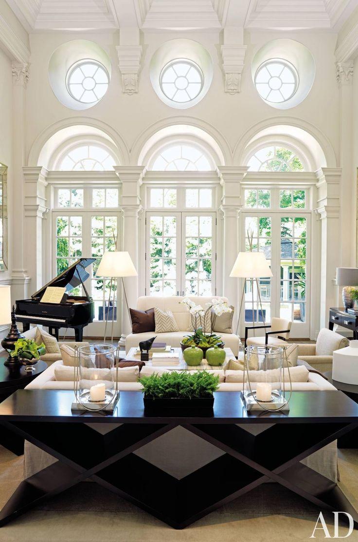 Schwarzweiss-Wohnzimmer-Innenarchitektur-Ideen –