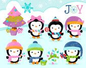 WINTER PENGUINS Digital Clipart, Navidad Clipart , Pinguinos Clipart  / Descarga Instantanea