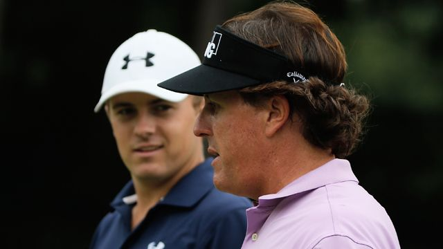phil mickelson practice | Phil Mickelson 'mentors' Jordan Spieth at Tour Championship | PGA.com