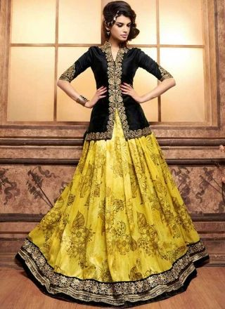 Black Yellow Embroidery Work Banarasi Long Print Lehenga Designer Anarkali Suit http://www.angelnx.com/Salwar-Kameez