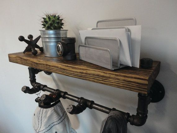 "Industrial Black Pipe and Reclaimed Barn wood Coat Rack Shelf Combo the ""Hancock Thick"""