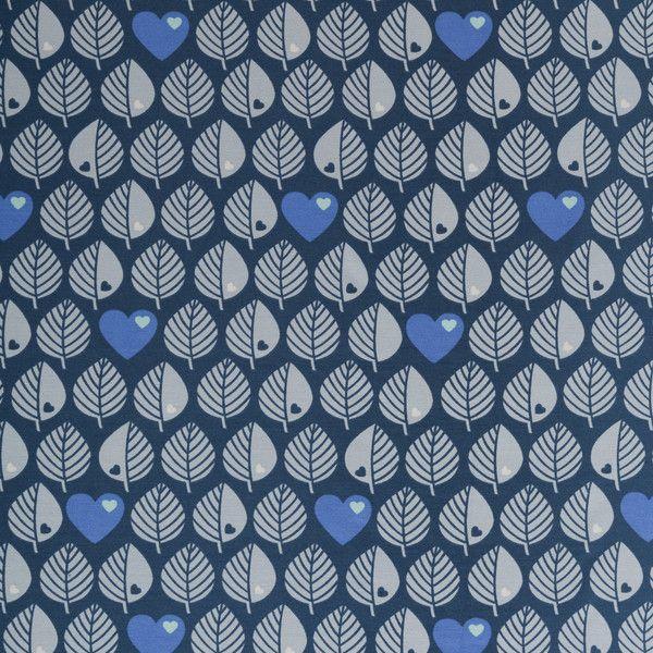 Stoff retro - 0,5 m BY GRAZIELA BLÄTTER-Sweat Jeansblau - ein Designerstück von brinas-welt bei DaWanda